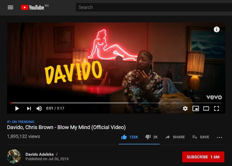 Davido's 'Blow My Mind' Ft  Chris Brown Hits 1 8m YouTube