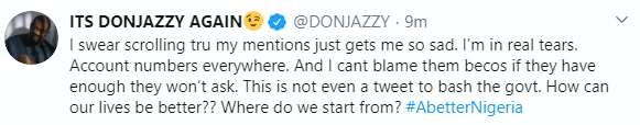 Donjazzy 'weeps' as Nigerians flood his social media handles demanding for financial assistance amid coronavirus crisis