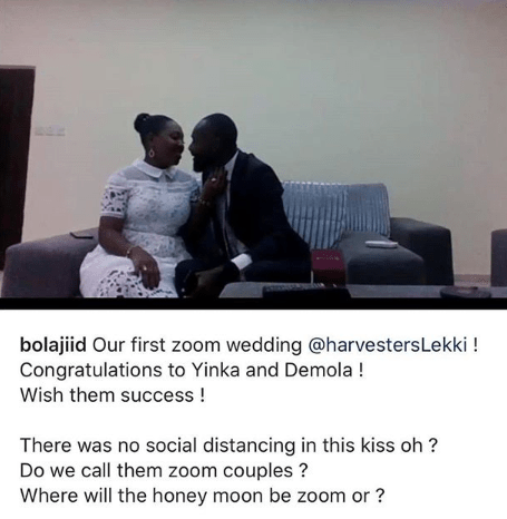 Covid-19 lockdown: Lagos church conducts its first online wedding (photos)