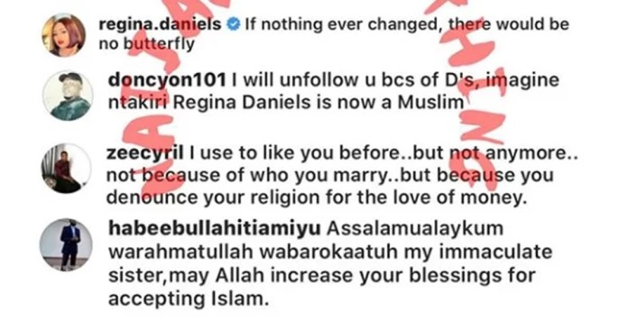Regina Daniels allegedly dumps Christianity, accept Islam as her religion