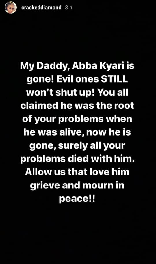 Abba Kyari's daughter slams Nigerians who accused her father of being responsible for Nigeria's problem