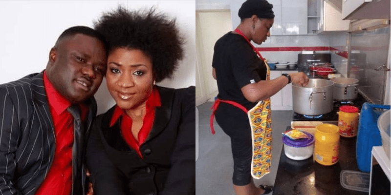 Governor's wife using non sticky pot, Reactions as Ben Ayades wife shares photo of herself in the kitchen