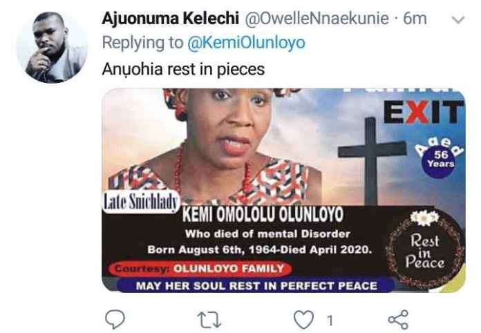 Painful Exit! IPOB Loyalist Designs Obituary Poster For Kemi Olunloyo For Declaring Nnamdi Kanu Dead ( photos)
