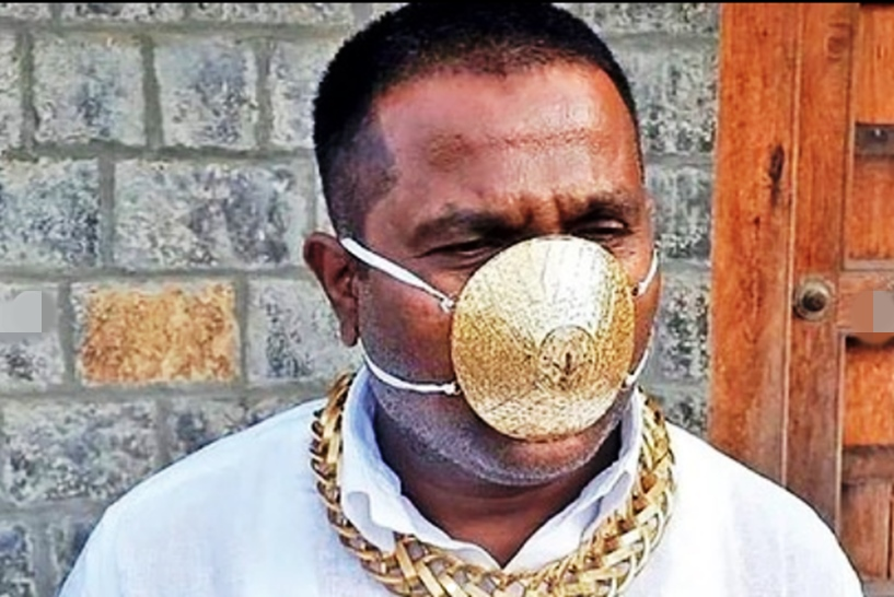 Indian man wears $4,000 (N1.5m) gold face mask to ward off coronavirus
