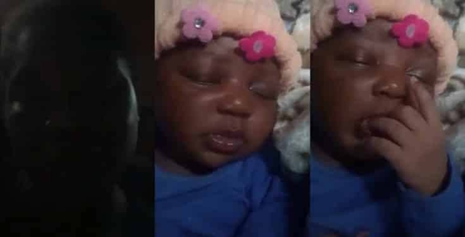 Video: Lady cries out as nursing mother leaves her baby with her and disappears