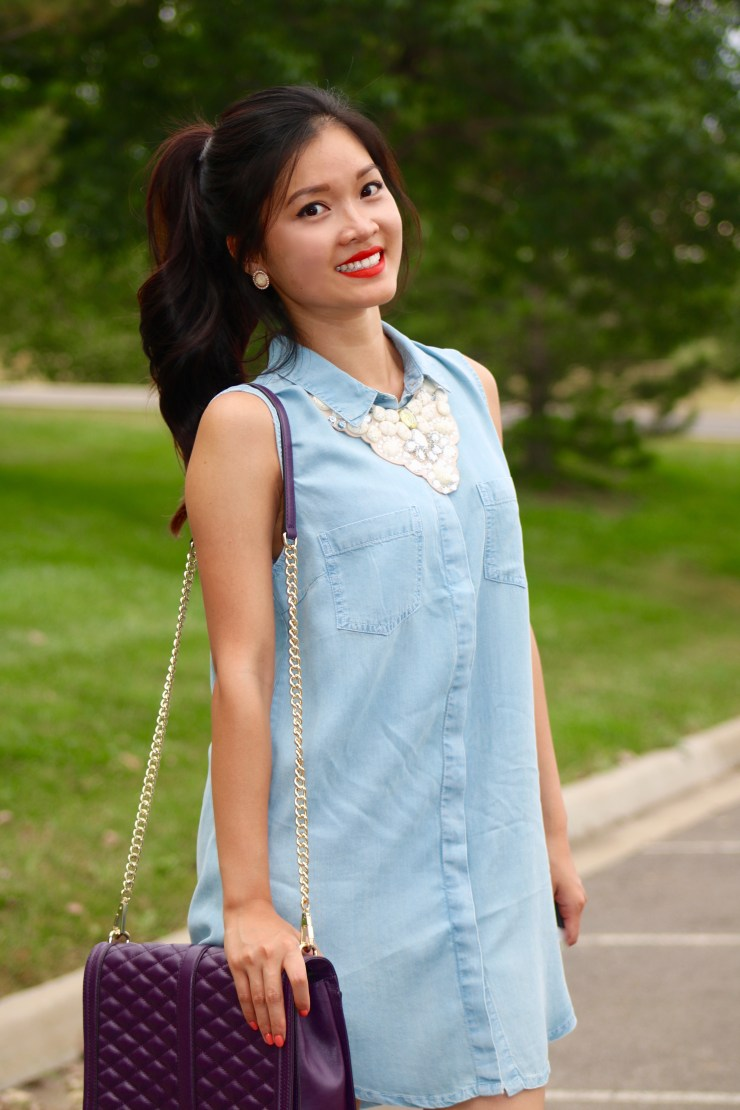 Chambray shirt dress and Rebecca Minkoff jumbo love