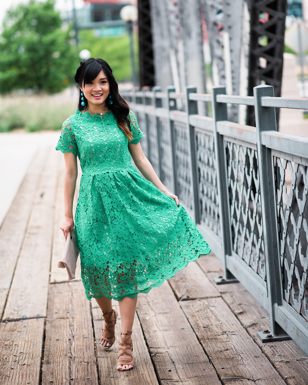 Chicwish Holiday Crochet Floral Green Lace Dress Spring Summer