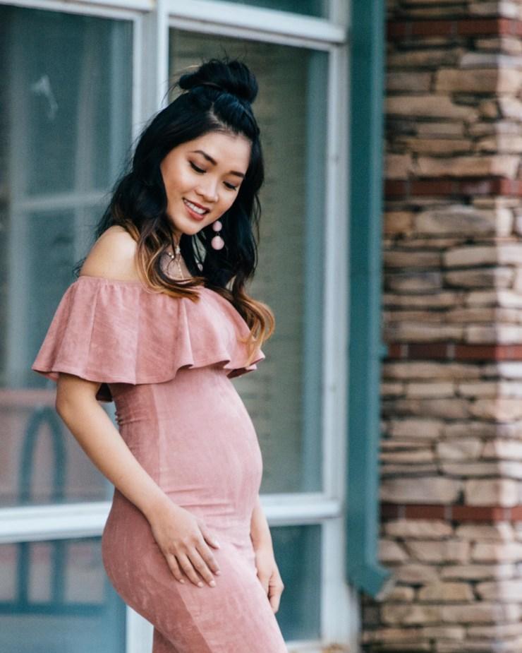 blush suede off the shoulder dress