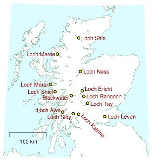Figure 26.10. Lochs in Scotland with potential for pumped storage.