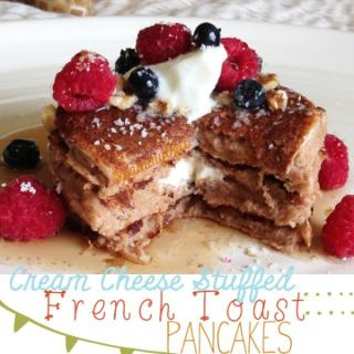 Cream Cheese Stuffed French Toast Pancakes