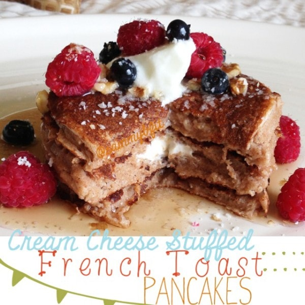 Cream Cheese Stuffed French Toast Pancakes |http://withpeanutbutterontop.com