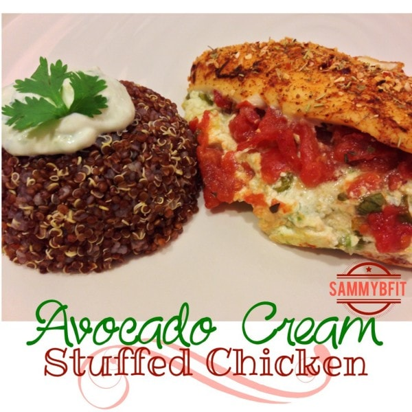 Avocado Cream Stuffed Chicken | http://withpeantubutterontop.com