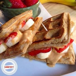 Grilled Banana & Peanut Butter Waffle Sandwich