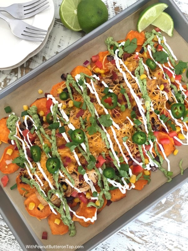 Loaded Sweet Potato Nachos with Homemade Sweet Potato Chips | www.withpeanutbutterontop.com