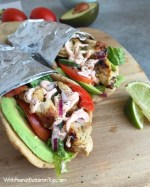 Grilled Chicken Avocado Naan Wraps - Ready in no time and loaded to the max with ingredients as well as flavor! Cilantro lime chicken, avocado, Sriracha Yogurt Sauce, lettuce, tomatoes, and cucumber! Great meal for any day of the week! www.withpeanutbutterontop.com