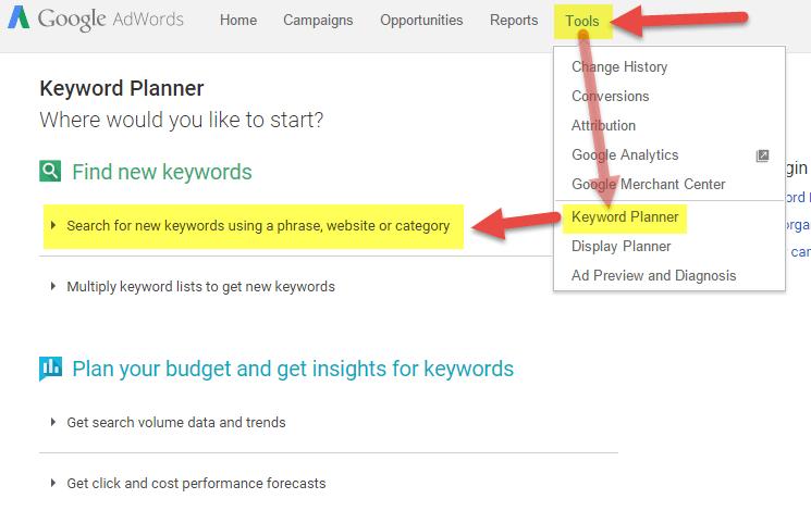اختيار الكلمة المفتاحية باستخدام keyword planner
