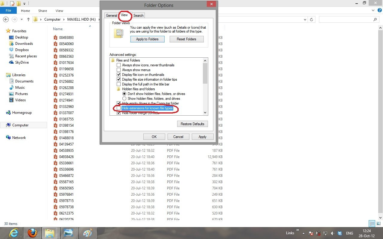 how to change the file extension in windows 8