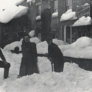 The great storm of 1933, clearing the pathway in front of the shop