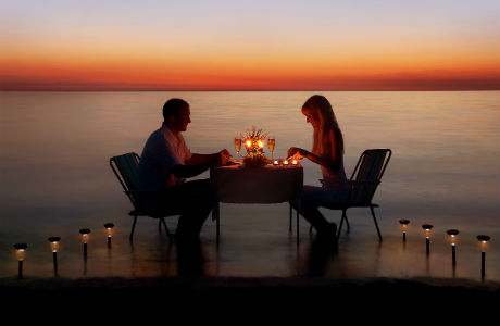 Beach dinner at sunset