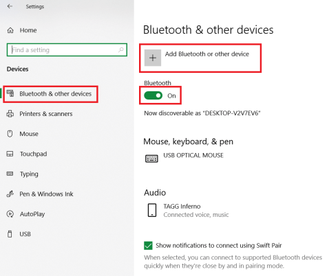 Bluetooth settings to connect a wireless mouse to windows 10