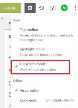 Fullscreen Mode option to Disable Fullscreen Mode in WordPress