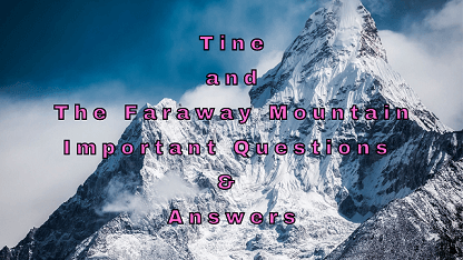 Tine and The Faraway Mountain Important Questions & Answers