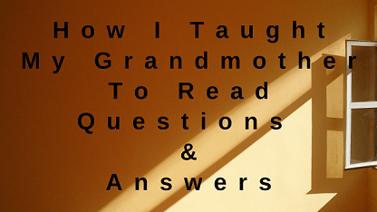 How I Taught My Grandmother To Read Questions & Answers