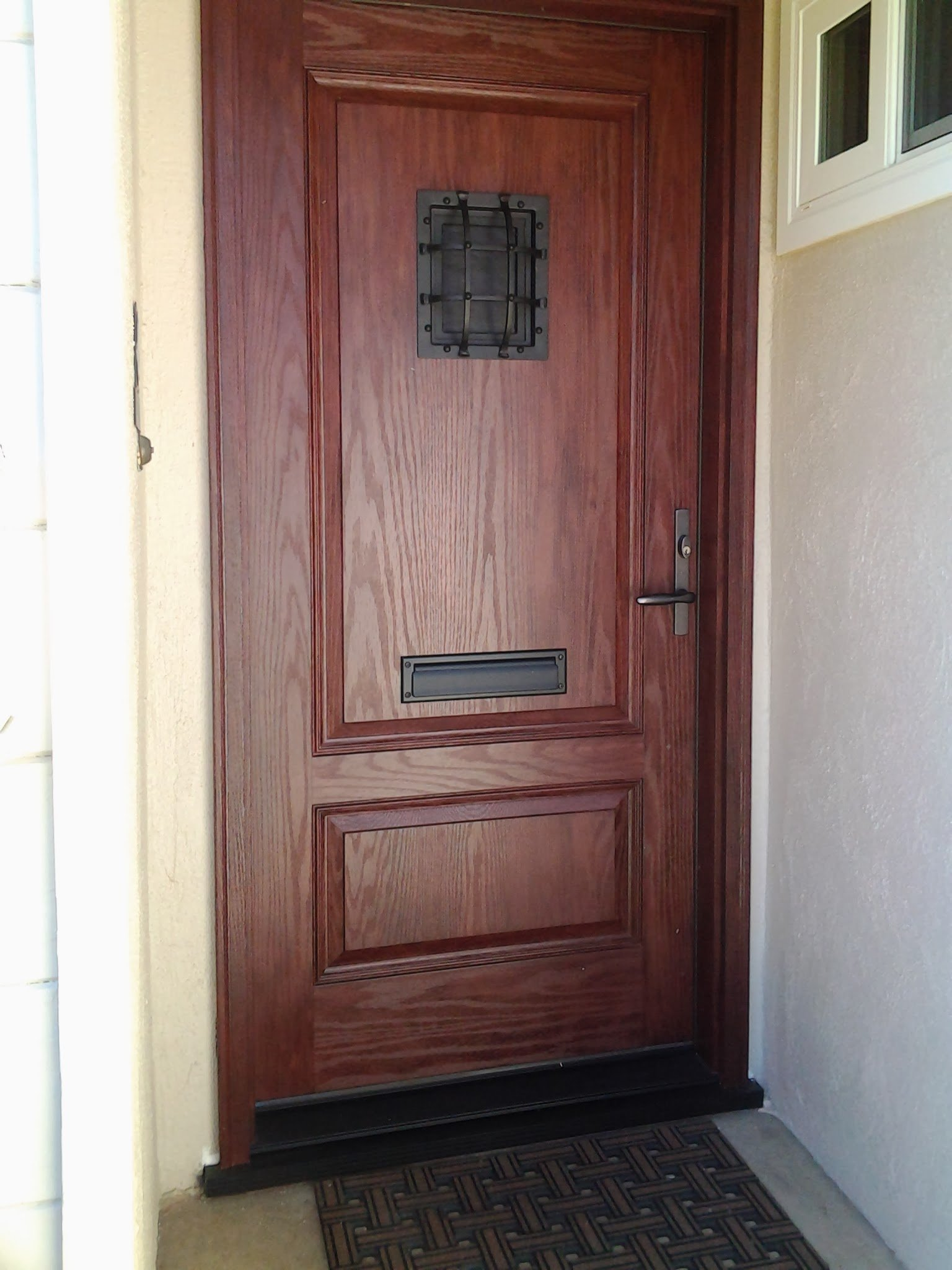 Fiberglass Front Entry Door With Mail Slot Wit Windows