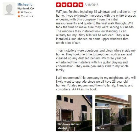 WIT Windows and Doors Yelp Review