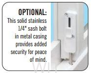 """The optional stainless 1/4"""" sash bolt as an upgrade"""