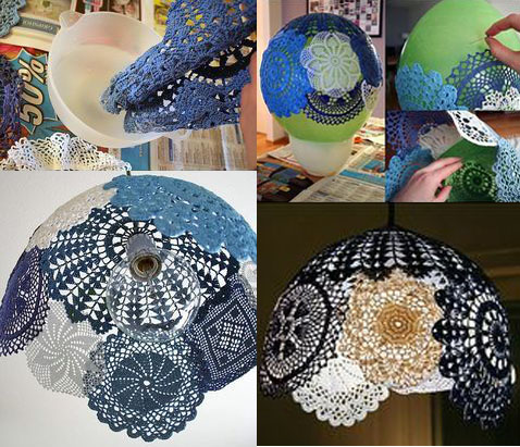 Recycled Lamp using Balloons & lace