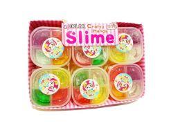 Trébol de 4 colores de Slime en caja 12 piezas con masa cristalina s085