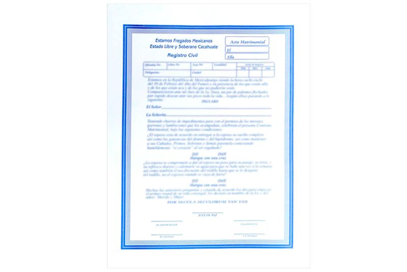Matrimonio Catolico Registro Civil : Actas de matrimonio piezas wiwi fiestas mayoreo