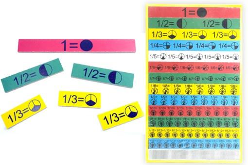 Tablero rectangular de fracciones de madera - Didácticos de mayoreo