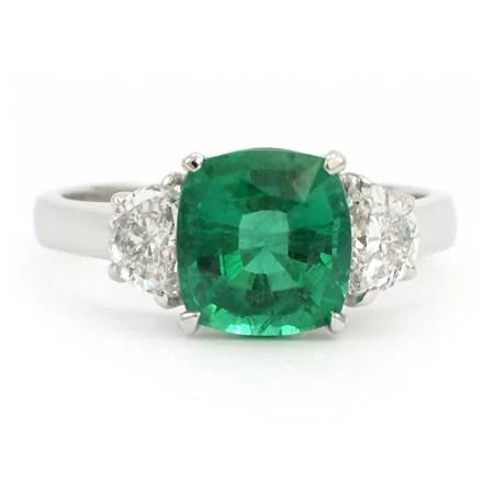Cushion Cut Emerald Ring 040744 Gemstone Jewelry