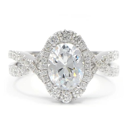 Graduated Diamond Halo Engagement Ring Oval Wixon Jewelers