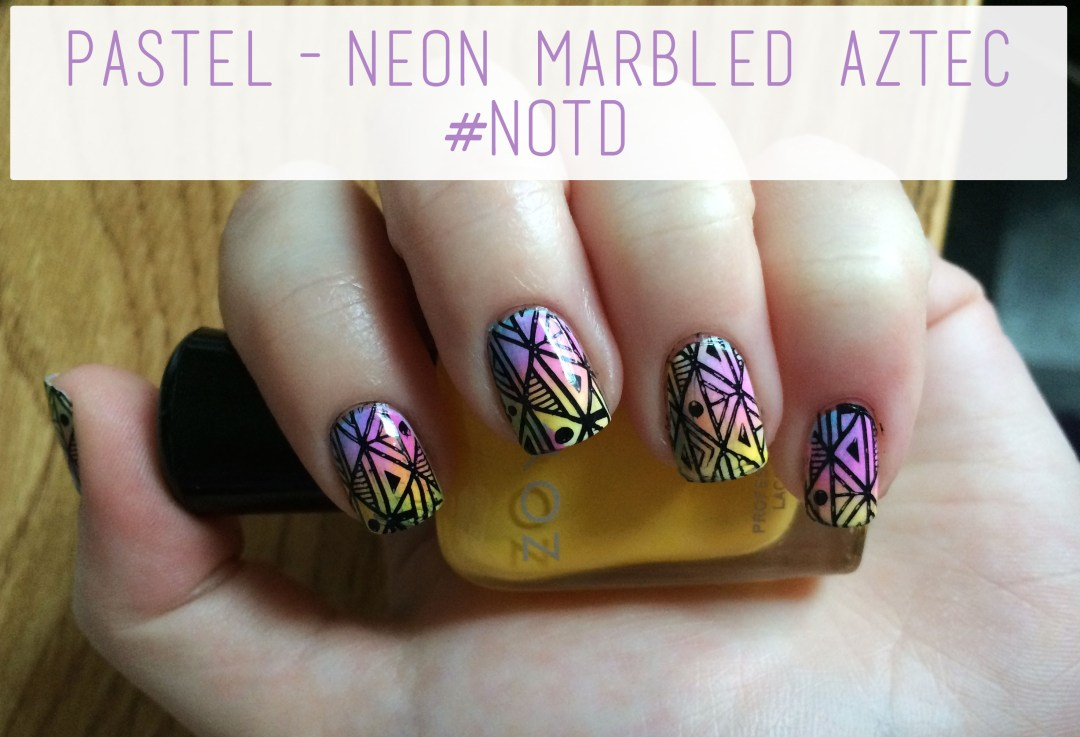 Pastel-Neon Marbled Aztec #NOTD Overview   The Rebel Planner