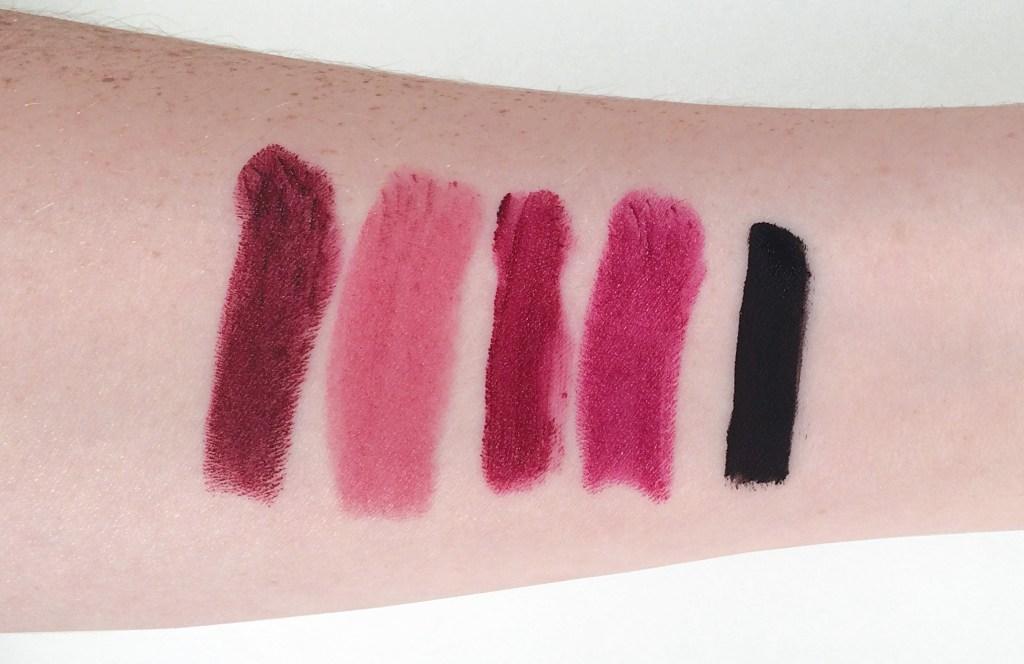 Left to right: MAC Diva, Maybelline Color Sensational Lipstick in Lust For Blush, NYX Soft Matte Lip Cream in Copenhagen, MAC Rebel, Limecrime Velvetine in Black Velvet.