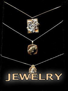 Necklaces, pendants, bismuth crystal rings with silver, black or golden backgrounds