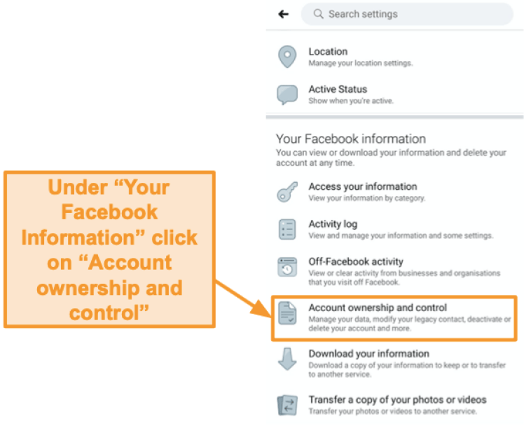 """Screenshot of where to find """"Account ownership and control"""" settings"""