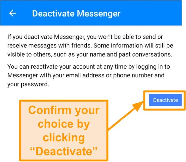 Screenshot of confirming Messenger deactivation