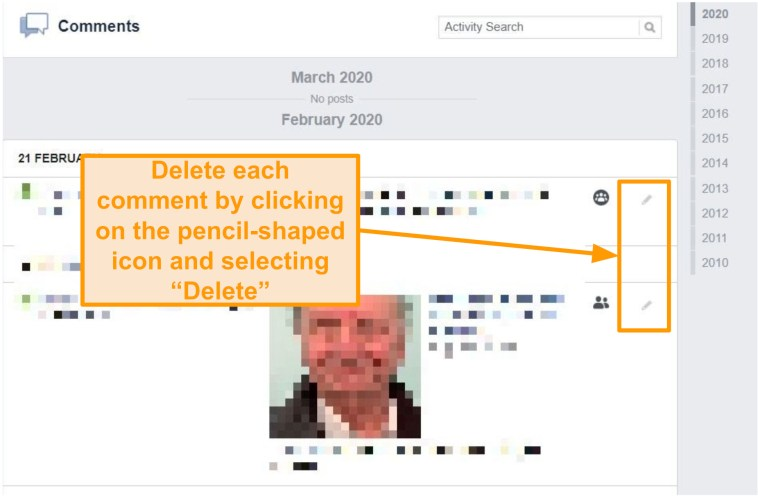 Screenshot of how to delete comments on Facebook