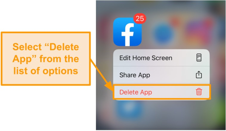 Screenshot of how to delete the Facebook app on iOS