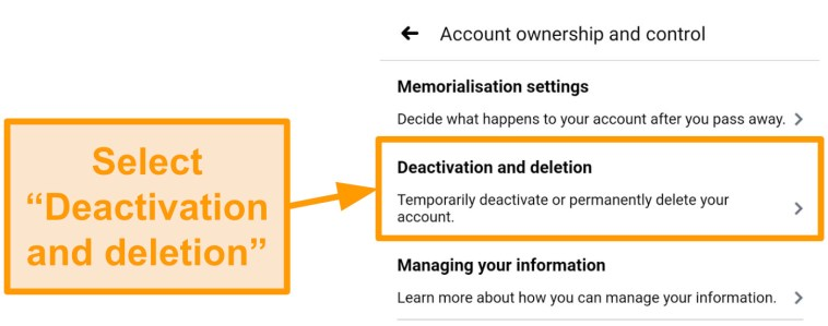 Screenshot of how to access account deletion on the mobile app