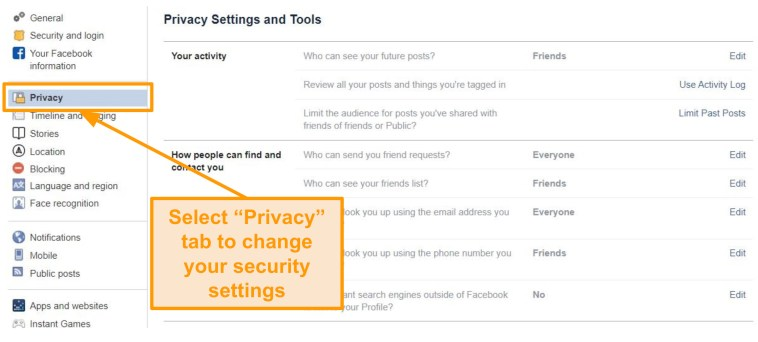 Screenshot of privacy settings