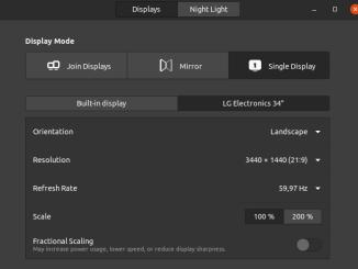 Ubuntu display settings