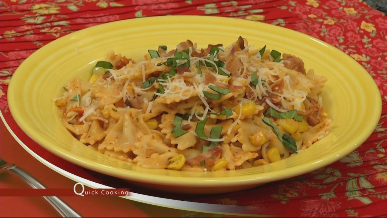Quick Cooking w/ Karin Calloway: Bowties with Bacon, Corn and Sundried Tomato Pesto