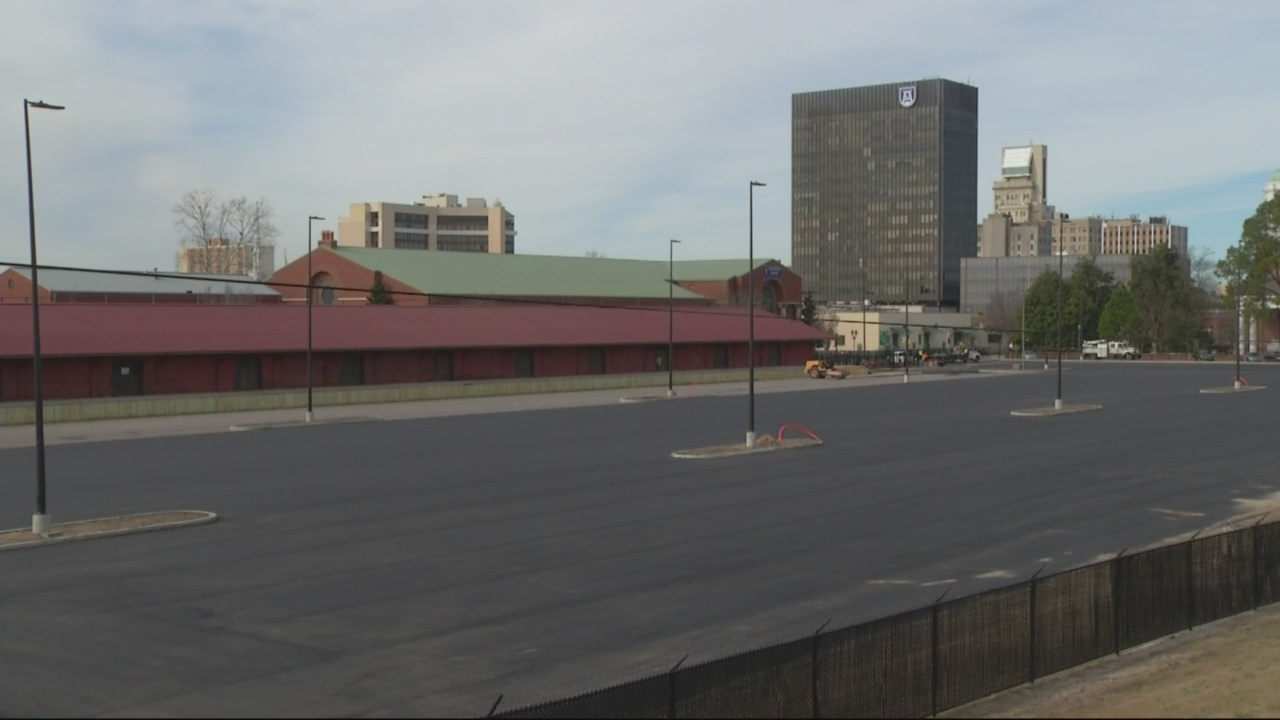 Parking lot work on site of major development