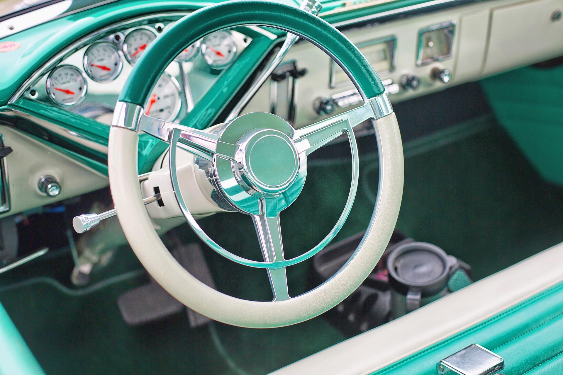 vintage car interior steering wheel