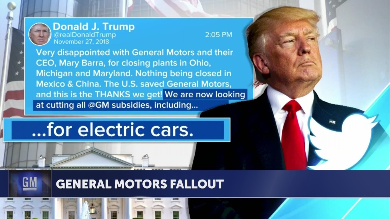 Angry over cutbacks, Trump threatens to end subsidies to GM